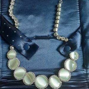 Lynx white cat's eye necklace, vintage